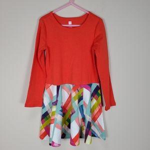 Tea Collection orange multicolor skater dress